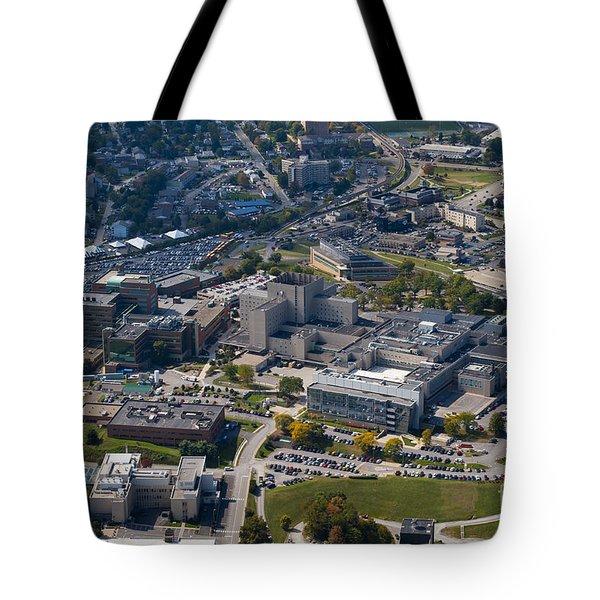 aerials of WVVU campus Tote Bag by Dan Friend