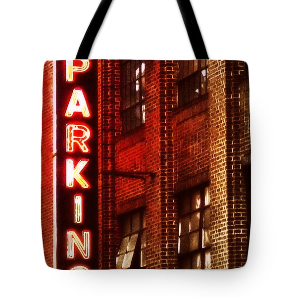 Tote Bag featuring the photograph 24-hour Garage by Miriam Danar