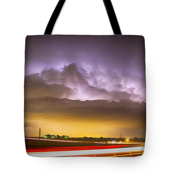 25 To 34 Intra-cloud Lightning Golden Light Car Trails Tote Bag by James BO  Insogna