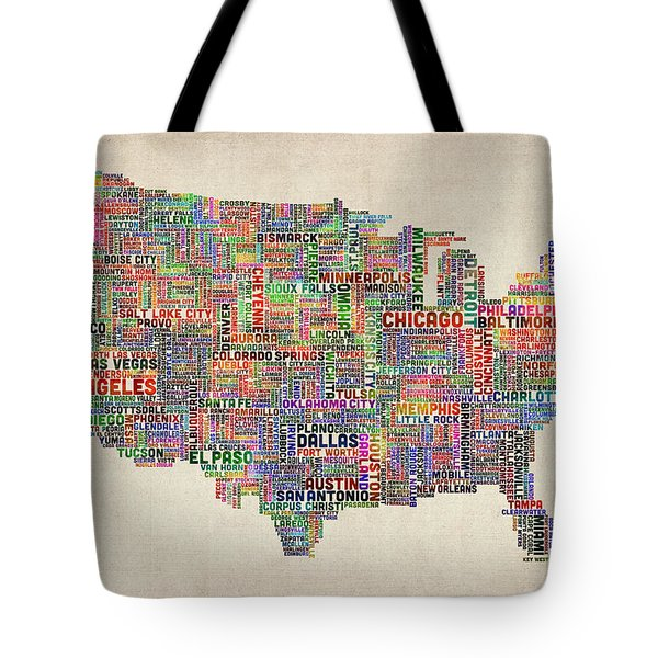 United States Typography Text Map Tote Bag by Michael Tompsett
