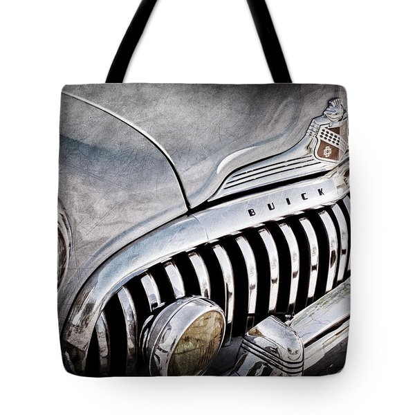 1947 Buick Eight Super Grille Emblem Tote Bag by Jill Reger