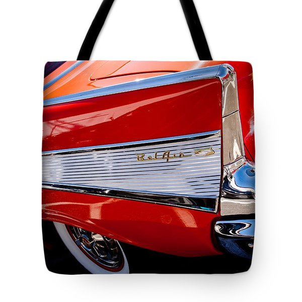 1957 Chevy Bel Air Custom Hot Rod Tote Bag by David Patterson