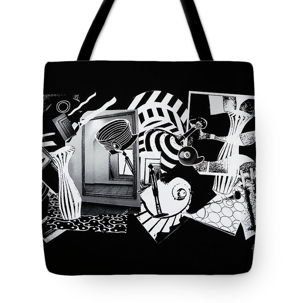 Tote Bag featuring the mixed media 2d Elements In Black And White by Xueling Zou