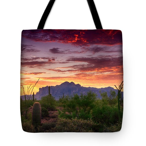 A Superstition Sunrise  Tote Bag by Saija  Lehtonen