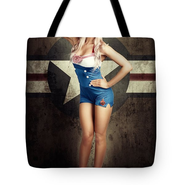 American Fashion Model In Military Pin-up Style Tote Bag