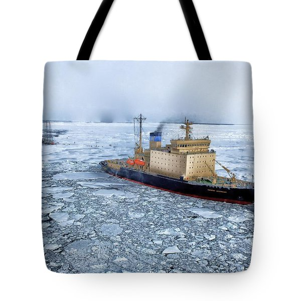 Tote Bag featuring the photograph Arctic Sea Ocean Water Antarctica Winter Snow by Paul Fearn