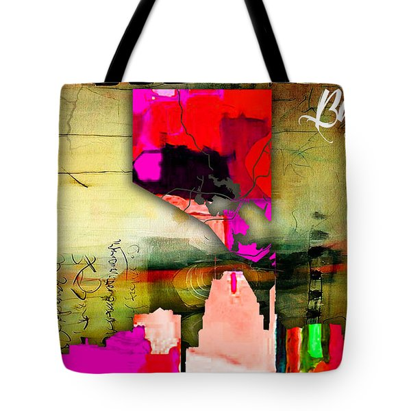 Baltimore Map And Skyline Watercolor Tote Bag by Marvin Blaine