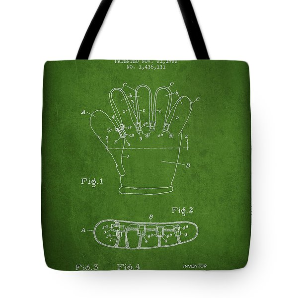 Baseball Glove Patent Drawing From 1922 Tote Bag