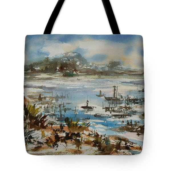 Tote Bag featuring the painting Bay Scene by Xueling Zou