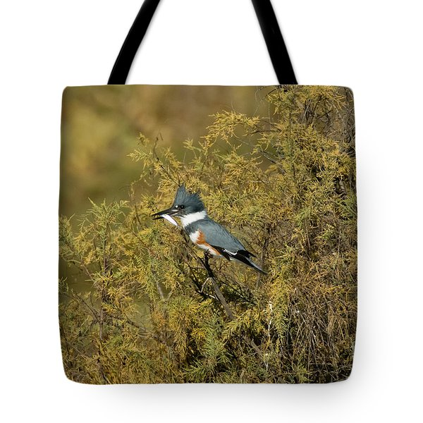 Belted Kingfisher With Fish Tote Bag by Anthony Mercieca