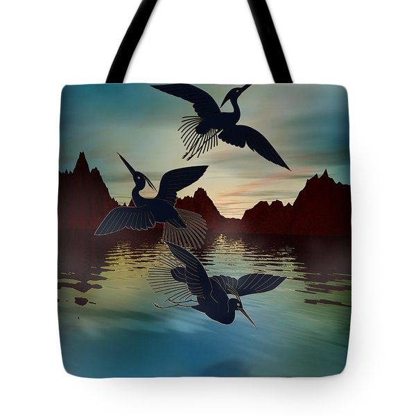 3 Black Herons At Sunset Tote Bag by Bedros Awak