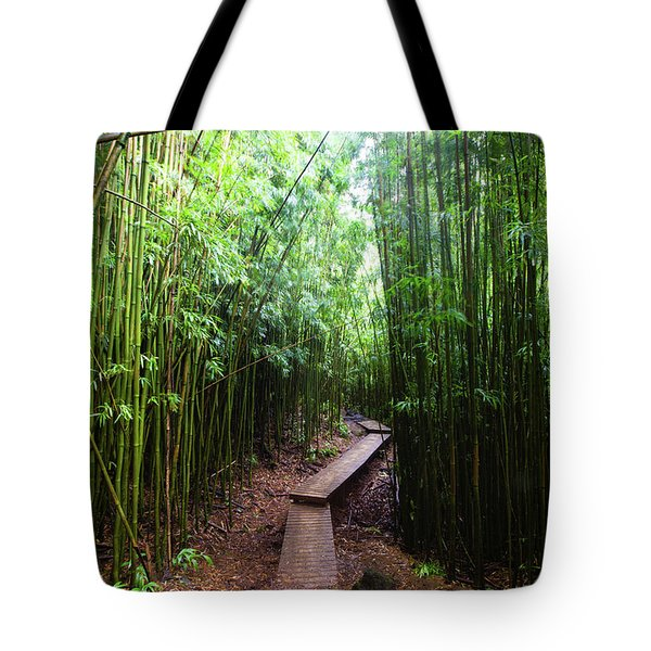 Boardwalk Passing Through Bamboo Trees Tote Bag