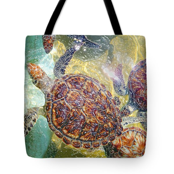 Cayman Turtles Tote Bag by Carey Chen