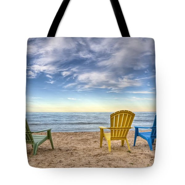 3 Chairs Tote Bag
