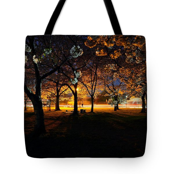 Cherry Blossoms At Night Tote Bag