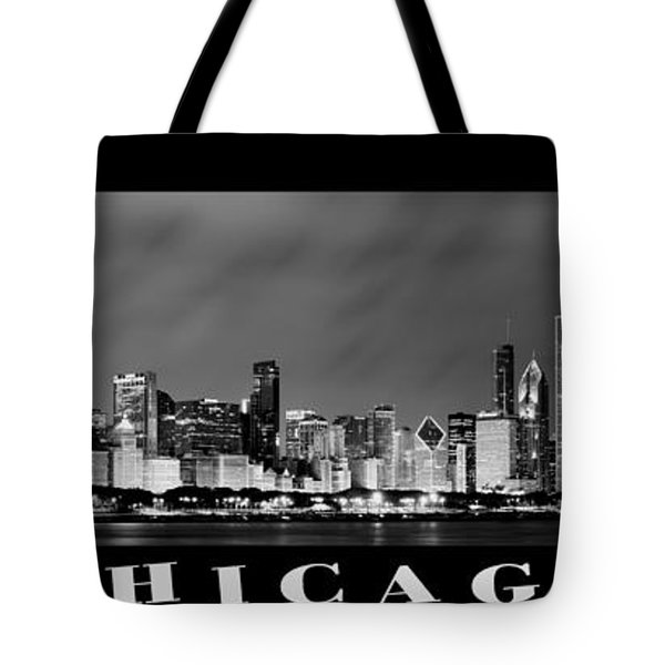 Chicago Skyline At Night In Black And White Tote Bag by Sebastian Musial