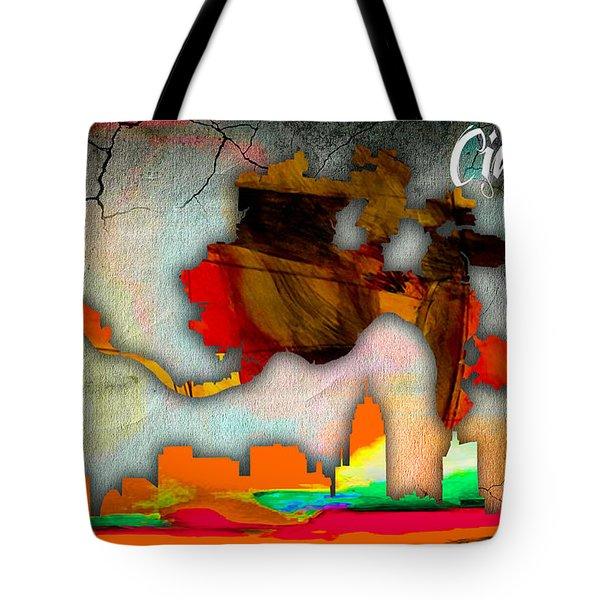 Cincinnati Map And Skyline Watercolor Tote Bag