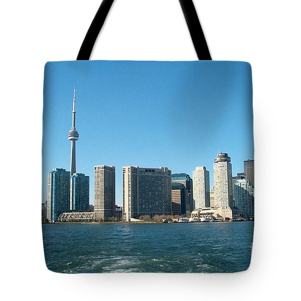 Cn Tower Toronto View From Centre Island Downtown Panorama Improvised With Graphic Artist Tools Pain Tote Bag