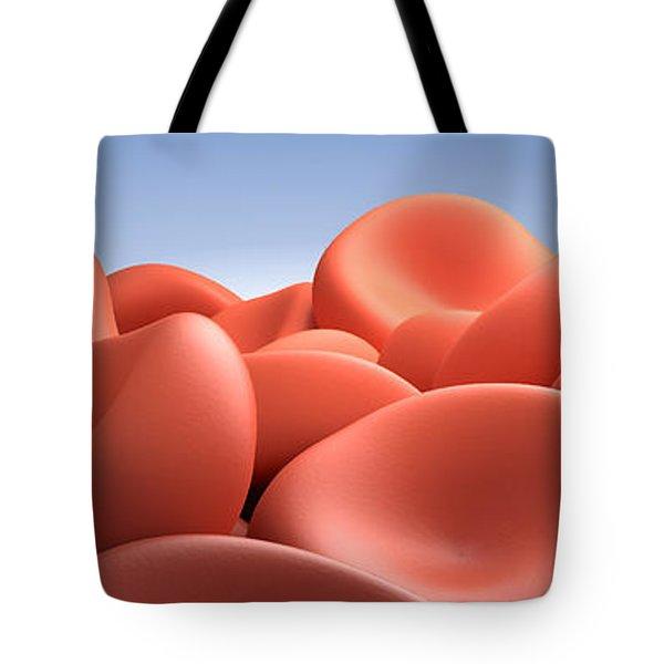Conceptual Image Of Red Blood Cells Tote Bag by Stocktrek Images