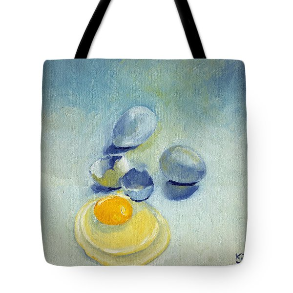 3 Eggs On Blue Tote Bag