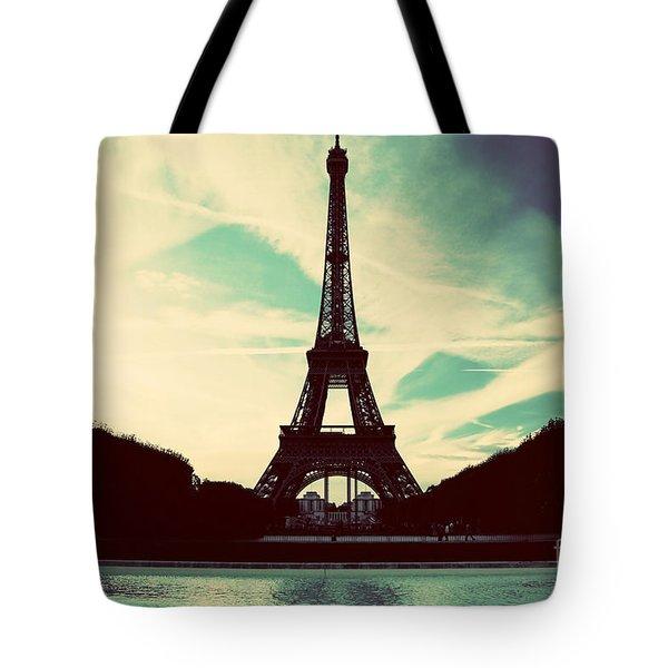Eiffel Tower In Paris Fance In Retro Style Tote Bag by Michal Bednarek
