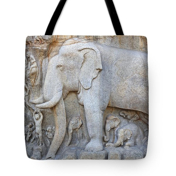 Elephant Sculpture At Mamallapuram  Tote Bag by Robert Preston