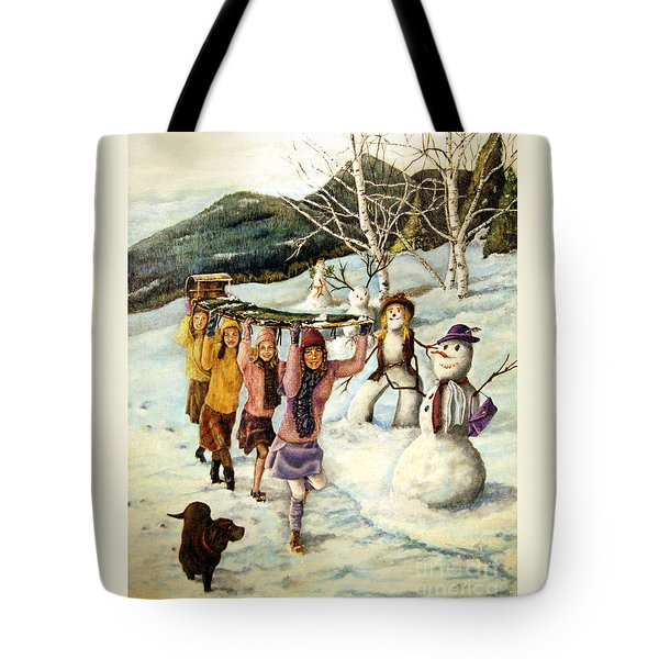 Frosty Frolic Tote Bag by Linda Simon