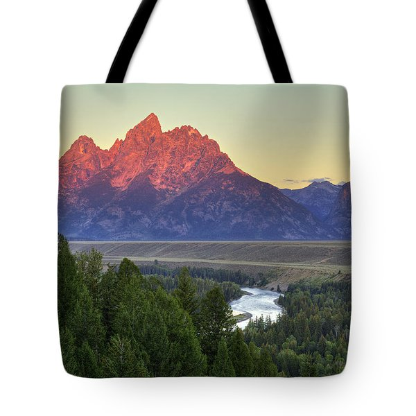 Tote Bag featuring the photograph Grand Tetons Morning At The Snake River Overview - 2 by Alan Vance Ley