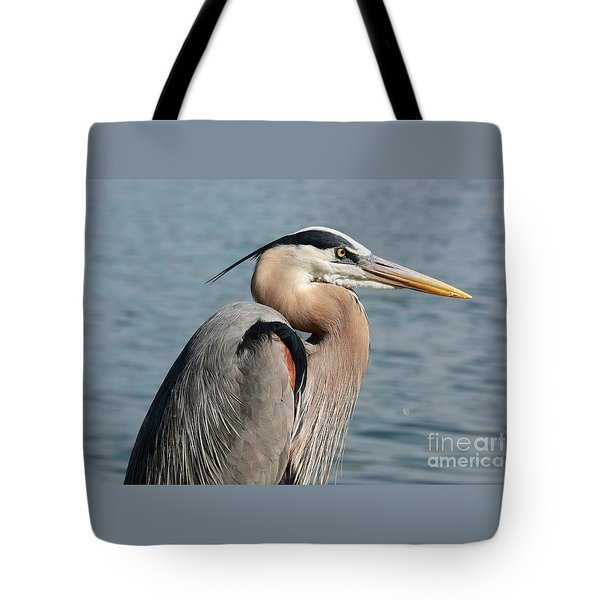 Great Blue Heron Profile Tote Bag by Carol Groenen