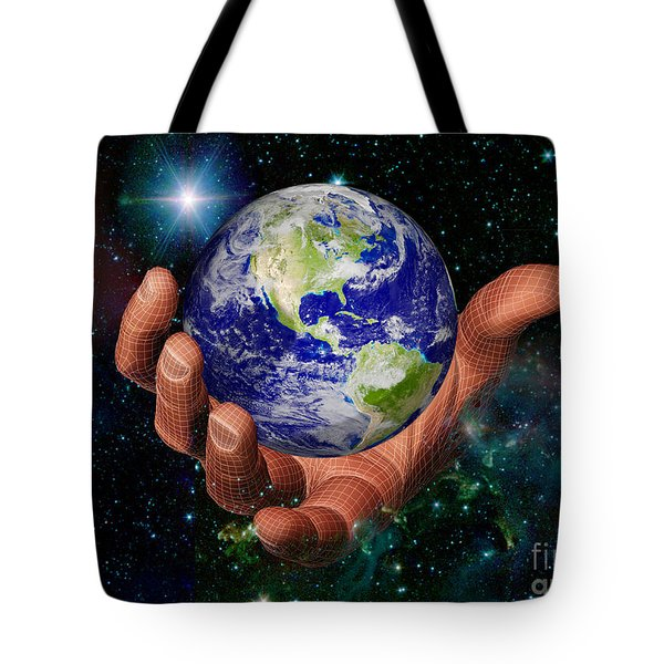 Hand Holding The Earth Tote Bag