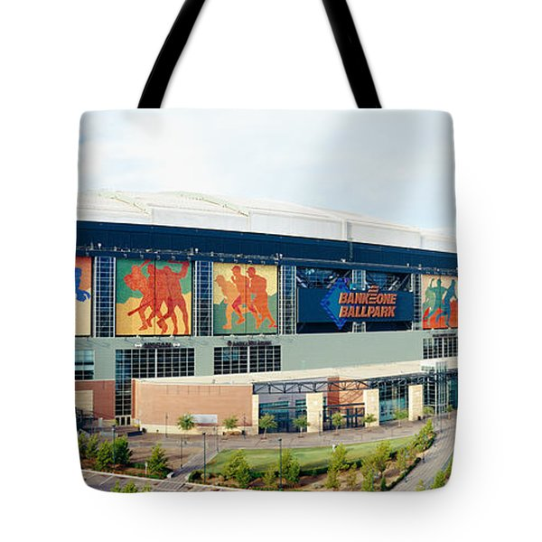 High Angle View Of A Baseball Stadium Tote Bag