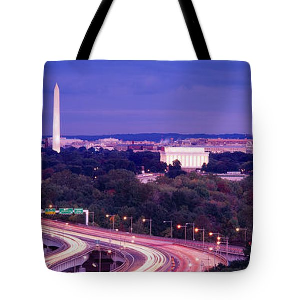 High Angle View Of A Cityscape Tote Bag