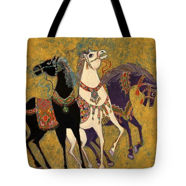 3 Horses Tote Bag