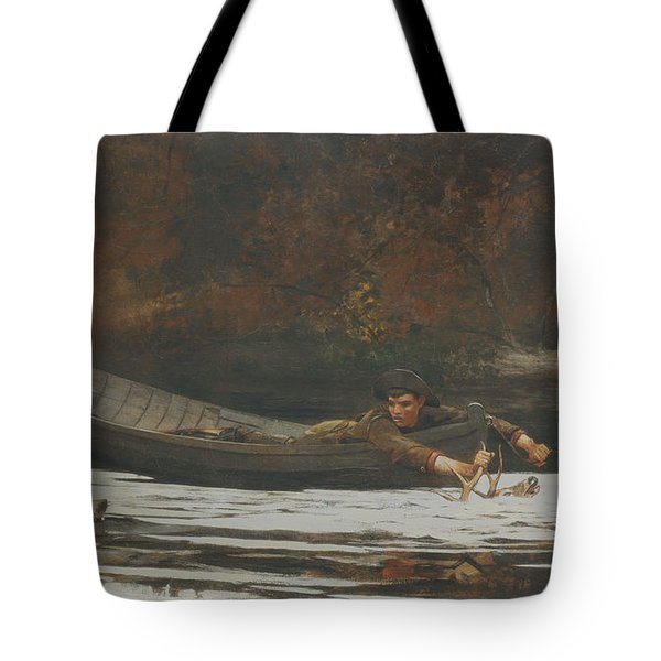 Hound And Hunter Tote Bag by Winslow Homer