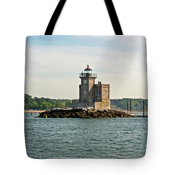 Tote Bag featuring the photograph Huntington Lighthouse by Karen Silvestri