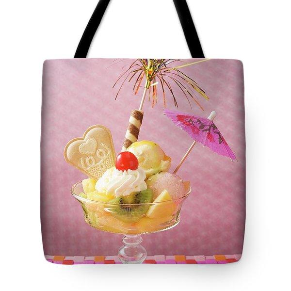 Ice Cream Sundae With Fresh Fruit And Cocktail Umbrella Tote Bag