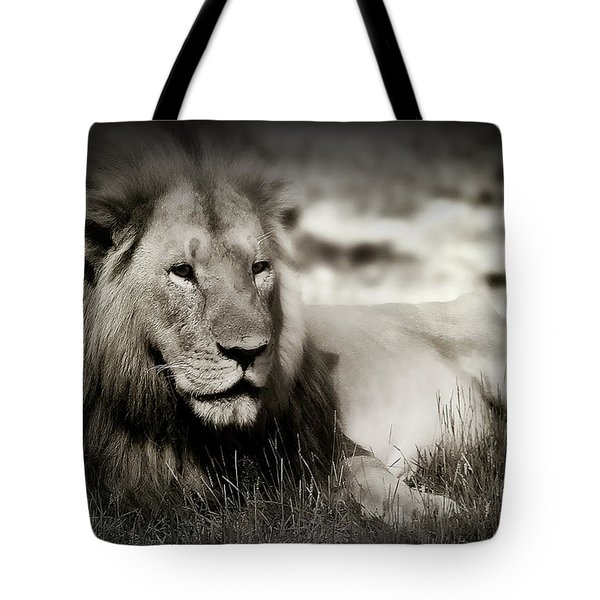 Lion Tote Bag by Christine Sponchia