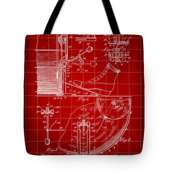 Ludwig Drum And Cymbal Foot Pedal Patent 1909 - Red Tote Bag