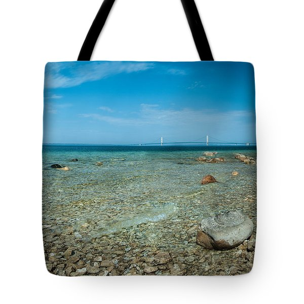 Tote Bag featuring the photograph Mackinac Bridge by Larry Carr