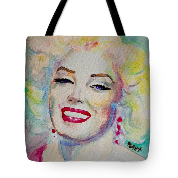 Tote Bag featuring the painting Marilyn by Laur Iduc
