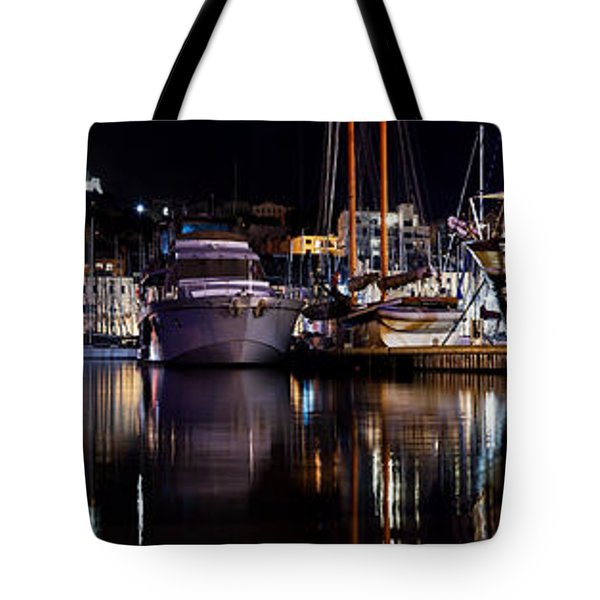 Marseille France Panorama At Night Tote Bag by Michal Bednarek