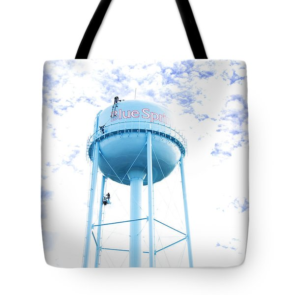 3 Men Painting The Blue Springs Water Tower Tote Bag by Andee Design