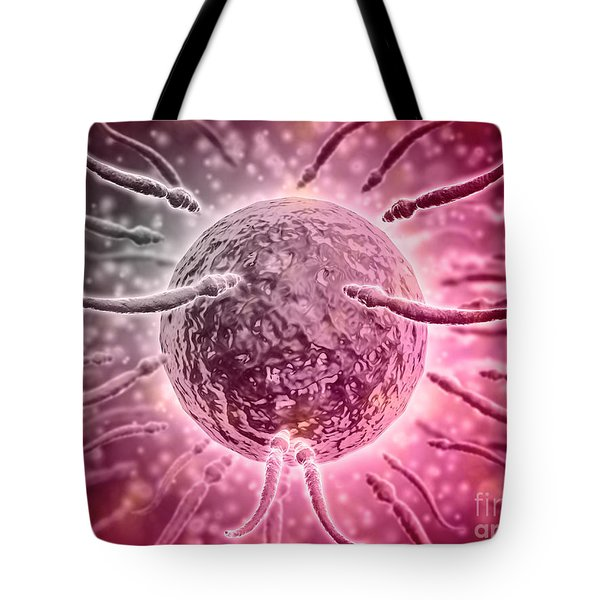 Microscopic View Of Sperm Swimming Tote Bag by Stocktrek Images