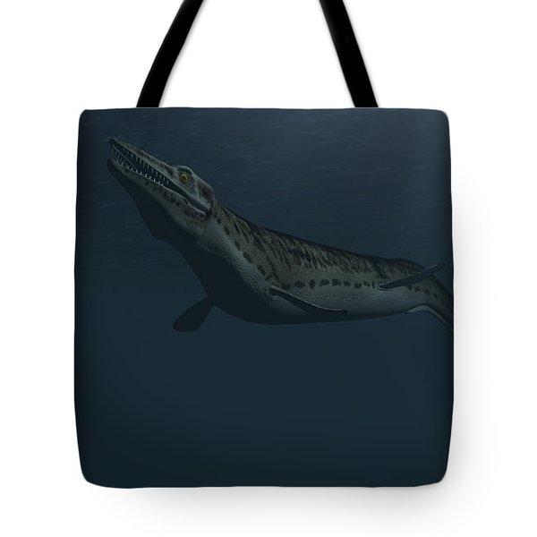 Mosasaur Swimming In Prehistoric Waters Tote Bag by Kostyantyn Ivanyshen