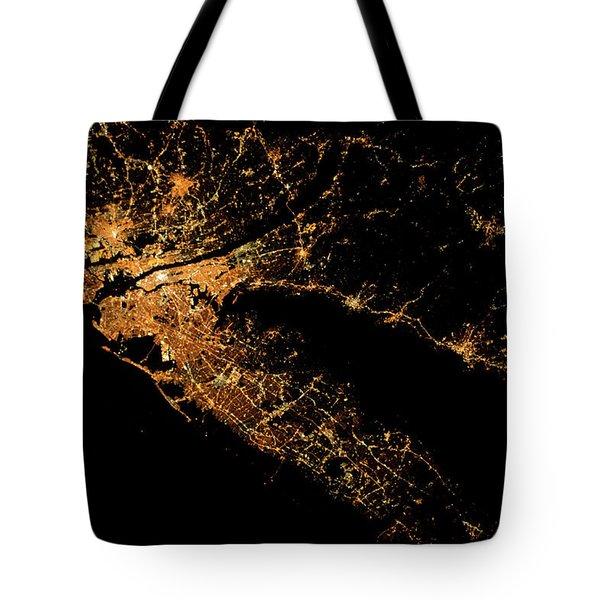 Night Time Satellite Image Of New York Tote Bag