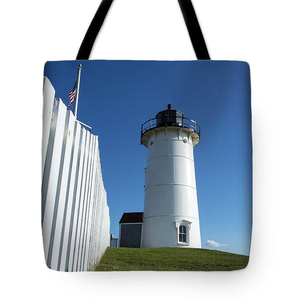 Nobska Lighthouse Tote Bag by John Greim