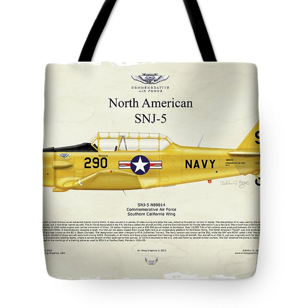 Tote Bag featuring the digital art North American Snj-5 by Arthur Eggers