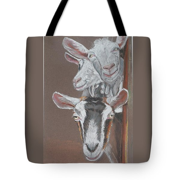 3 Nosey Goats Tote Bag
