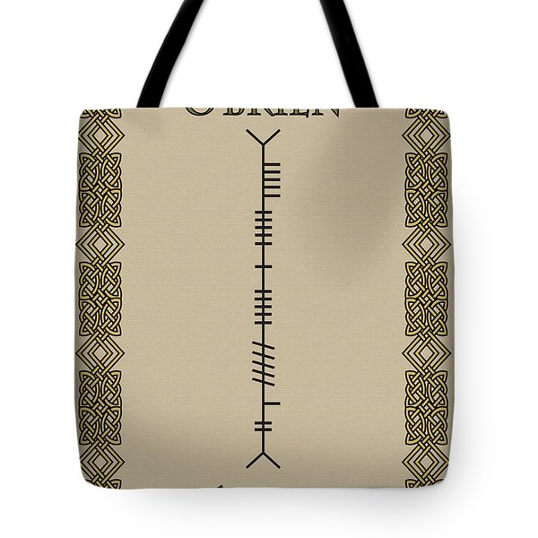 Tote Bag featuring the digital art O'brien Written In Ogham by Ireland Calling