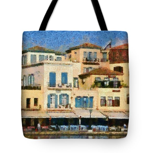 Painting Of The Old Port Of Chania Tote Bag